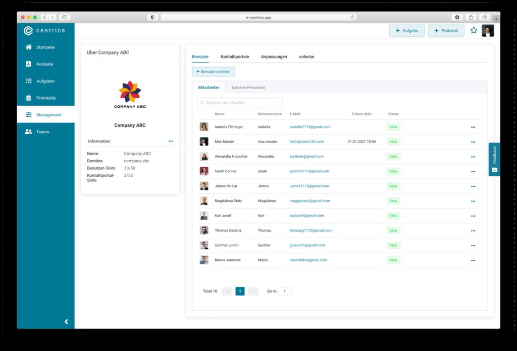 Workflow Management System centrics Benutzerübersicht